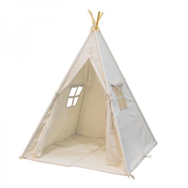 """Tipizelt """"Tela"""" weiß aus Baumwolle + Holz 120x120x159cm Kinderzelt Zelt"""