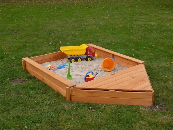 """Sandkasten """"Sandy V"""", Kiefer, 140x260x22cm, Kindersandkasten, Garten, Spielzeug, Kinderspielzeug"""