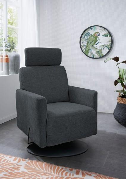 "Sessel ""Alexis"" dunkelgrau schwarz 73 x 109 x 87 cm (B/H/T) Sessel mit Drehfunktion Relaxsessel"