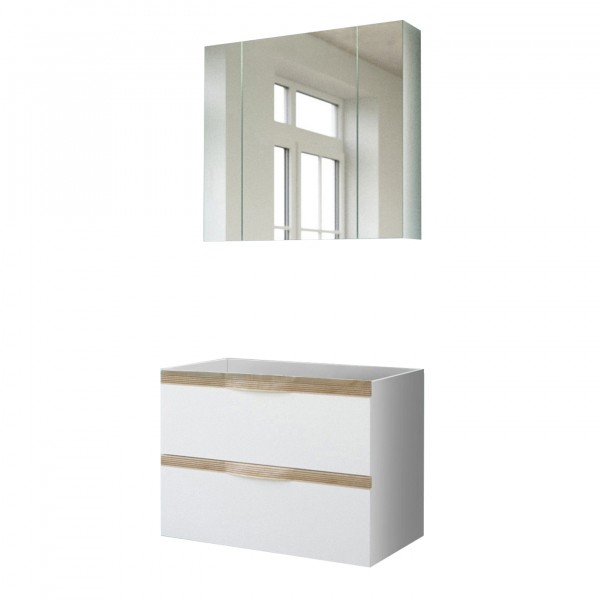 "Forest Dream A9CA00V201 Badezimmer-Set 2-teilig Candy V2-01 Block 2er Set Badezimmer ""Sola"" weiß Hochglanz 80,4x190x44,3cm (B/H/T) Unterschrank"