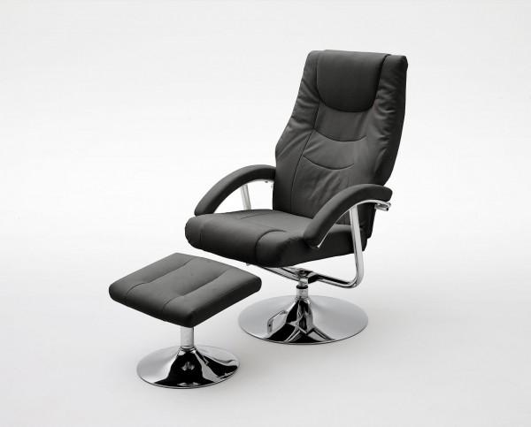 """Relax Sessel Komfort """"Verio II""""- Wohnzimmersessel mit Hocker Schwarz Kunstleder und PVC Metall 110kg"""