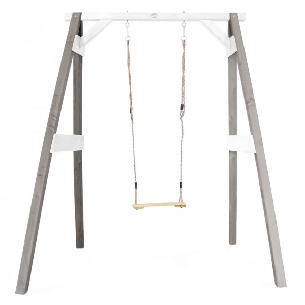 """Schaukel """"Mao I"""" Hemlock Holz in grau-weiß 160x181x207cm Einzelschaukel Holzschaukel Gartenschaukel"""