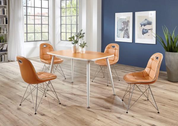 """Tischgruppe Set """"Ambrosia V"""" 4 Stühle Lederoptik orange/ Vierfusstisch orange Essgruppe"""