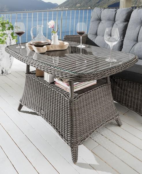 """Tisch """"Sally"""", vintage grau, 120 x 72 x 67 cm, mit Glasplatte, Gartentisch, Balkontisch, Garten"""