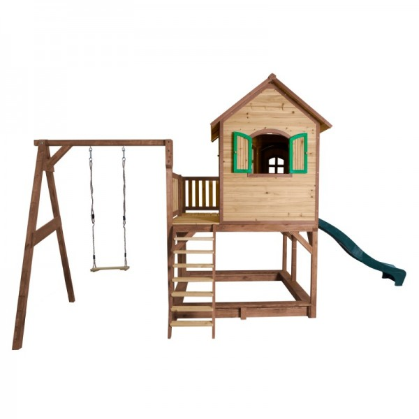 """Holzspielhaus """"Leon III"""" 277x541x291cm, Holz, braun-grün, Rutsche grün+Sandkasten+Schaukel"""