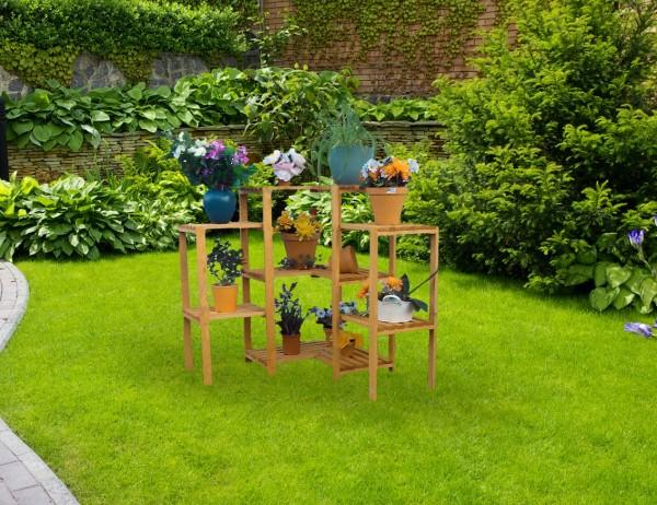 """Blumen-Etagere """"Linda I"""" , Kiefer, honigbraun, 85 x 85 x 88 cm, Blumendekoration, Gartendeko, Garten"""