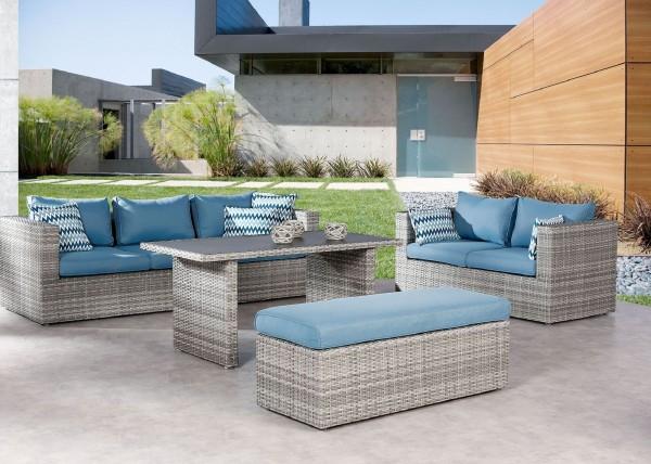 """Lounge-Gruppe """"Bacan"""" 4-tlg. warm-grau/blau Sitzgruppe 280x230cm"""