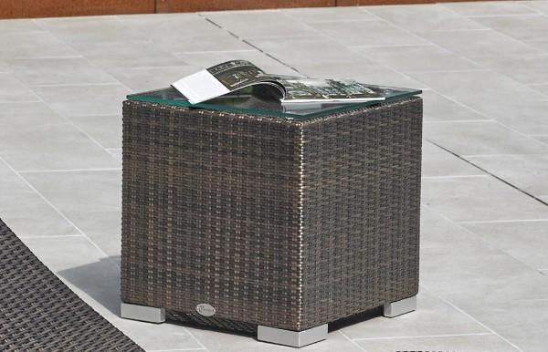 """Cubus """"Jessy"""", bronze, 45 x 45 x 45 cm, mit Glasplatte, Beistelltisch, Garten, Balkon"""