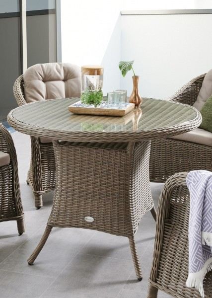 """Tisch """"Clarissa"""", vintage grau, 100 x 100 x 75 cm, rund, mit Glasplatte, Gartentisch, Garten"""