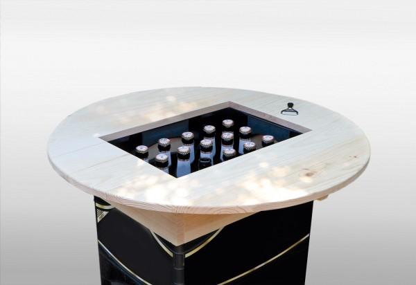 """Bierkastenaufsatz """"Andy"""" natur lackiert 66,5x66,5x11cm Kieferholz Stehtisch Beistelltisch"""