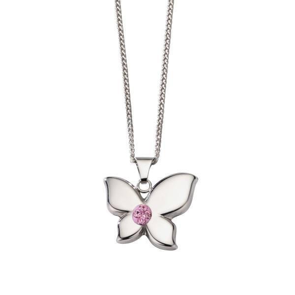 Crystelle - Anhänger mit Kette 42cm, Schmetterling Swarovski Kristall pink