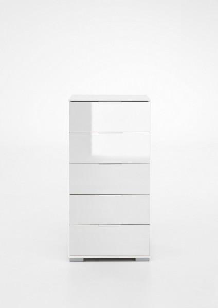 """Schubkastenkommode """"Olha"""" weiß+Glas weiß (5xSchubkästen) 49x102x41cm Board"""