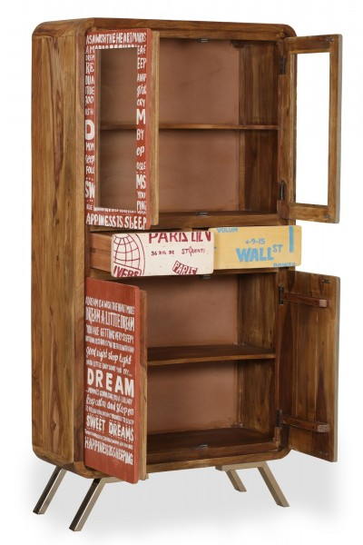 "Sideboard ""Dream"" Massivholz Sheesham braun bunt silber 180x90x38cm Kommode"