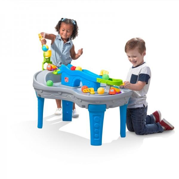 """Ball-Tisch """"Florin"""" aus Kunststoff in grau blau orange 58x90x69cm Ball Freunde Rollerbahn"""