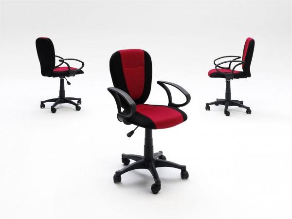"Drehstuhl ""Finnley"" rot-schwarz, 52x87x62 cm, Sitzhöhe 44-53 cm"