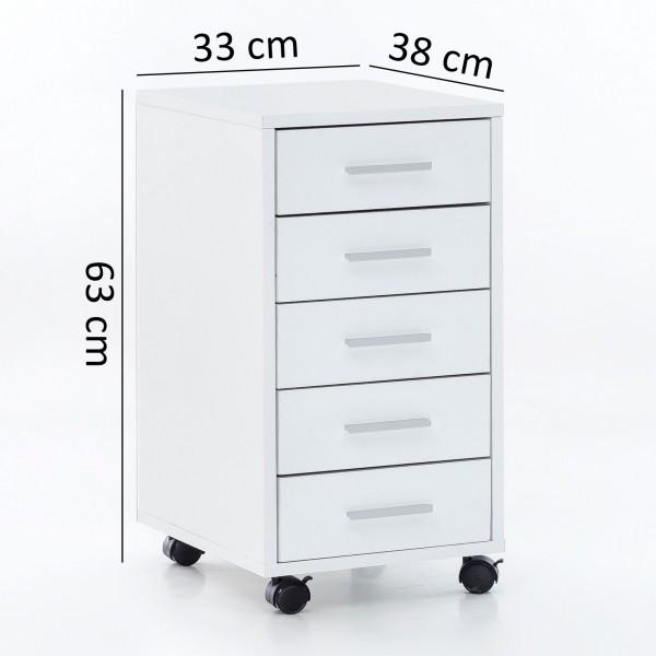"""Rollcontainer """"Cara"""" weiß auf Rollen mit Bremse 5 Schubladen 33x63x38cm Bürocontainer"""