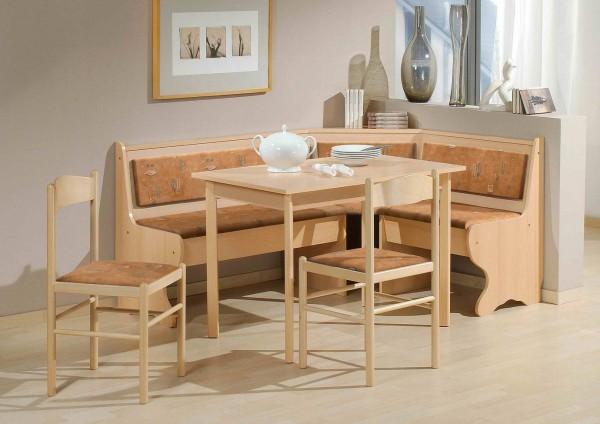 Eckbankgruppe 'Munich' Eckbank Tisch 2 Stühle Buche Dekor terracotta 4-teilig