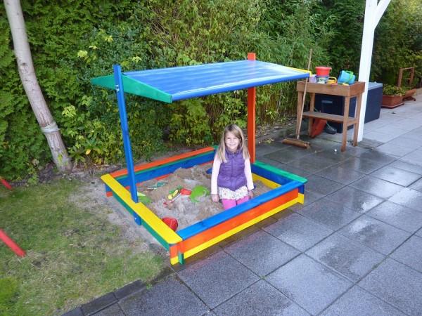 """Sandkasten """"Ronja"""", Kiefer, bunt, 140 x 140 x 130 cm, Abdeckung, Kindersandkasten, Kinder, Garten"""