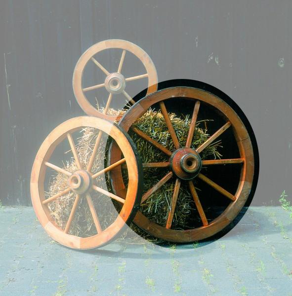 "Wagenrad ""Vitex II"" groß ⌀ 90cm Kiefernholz massiv honigbraun Dekorad Gartendeko Deko"