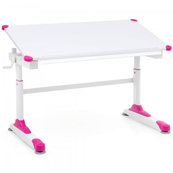 """Schreibtisch """"Melanie"""" weiß rosa Puvlerbeschichtung 119x67x58-85,5cm Kinderschreibtisch"""
