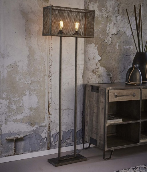 """Stehlampe """"Liared"""" Rechteck mit Raster Metall silber 55x18x165cm (B/T/H) Stehleuchte Zijlstra"""