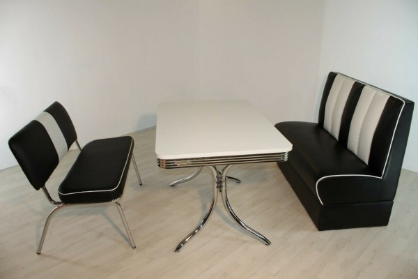 """Tischgruppe Set """"Midgar"""" Diner Set schwarz/weiss Vierfuss-Bistrotisch Sitzbank Polsterbank Essgruppe"""