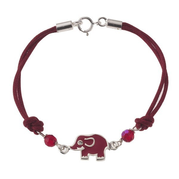 ZEEme For Kids - Armband 16cm Elefant Kristall weiss+rot