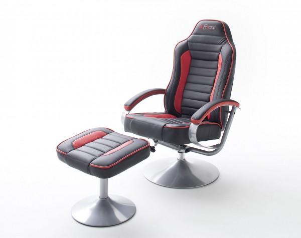"""mcRacing Gaming Sessel """"Jokim"""" - Chefsessel Sportsitzoptik mit Armlehne und Hocker Schwarz-Rot PU"""