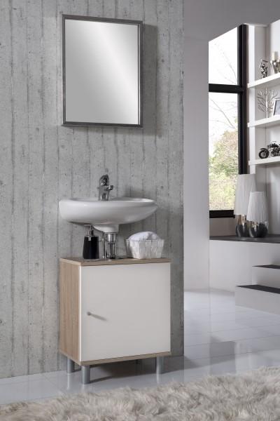 """Waschtischunterschrank """"Ronja 3"""", Sonoma Eiche/weiß, 1 Türen, 45x55x32 cm"""