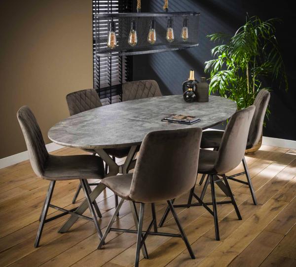 """Esstisch """"Catori"""" oval Stahlgestell X-Rahmen Tischplatte 3D-Betonoberfläche 200x100x76cm Tisch"""