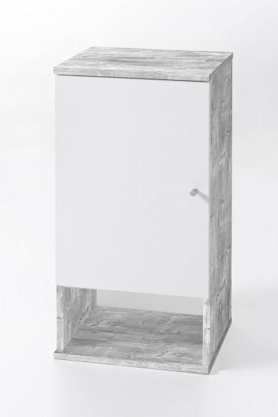"""Hängeschrank """"Tobi 3"""", Betonoptik/weiß, 1 Tür, 1 offenes Fach, 35x70,5x32cm"""