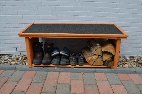 "Schuhregal ""Melanie"", Kiefer, honigbraun, 119 x 45 x 50 cm, Schuhaufbewahrung, Gartenschuhe, Garten"