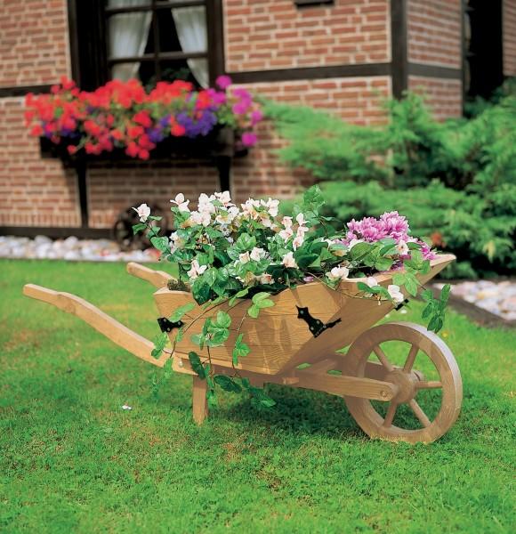 """Pflanzkarre """"Marita"""" Blumenkarre honigbraun wetterfest 145x56x52cm Blumenkasten"""