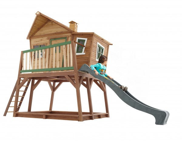 """Holzspielhaus """"Yvie"""" mit Veranda + Rutsche + Leiter + Sandkasten 193x432x288cm aus Zedernholz in braun"""