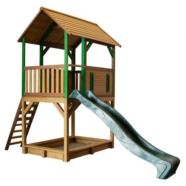 """Holzspielhaus """"Tabata"""" mit Veranda + Leiter + Rutsche + Sandkasten 172x370x291cm aus Zedernholz"""