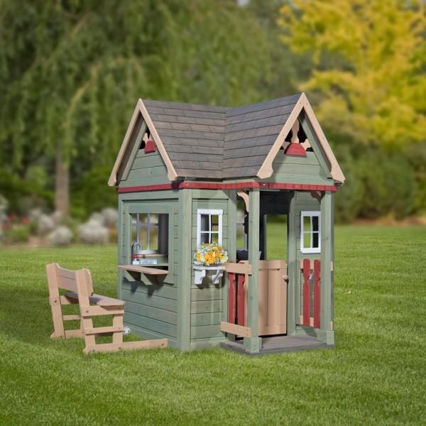 """Holzspielhaus """"Vala"""" mit Spielzubehör 188x165,1x170,2cm aus Zedernholz in grün"""
