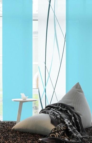 """Designer Flächenvorhang Schiebevorhang """"Linien Premium"""" Pastell blau"""