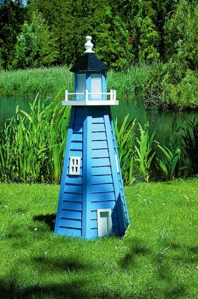 "Leuchtturm ""Fehmarn"" blau weiß imprägniert 45x45x95cm Gartenleuchtturm wetterfest"
