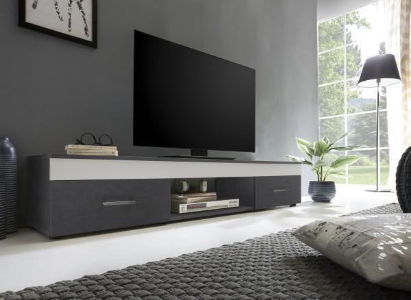 """TV-Lowboard """"Frank 11"""", graphit/weiß, 160 x 31 x 33 cm, 2 Schubkästen, 1 offenes Fach"""