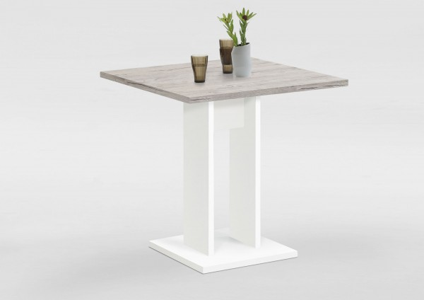 """Esstisch """"Frauke 3"""" weiß/ Sandeiche NB 70x77,5x70cm Säulentisch Tisch"""