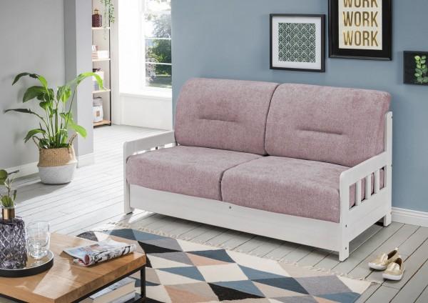 "Sofa ""Vague"" Weiß Rosa 154 x 88 x 90 cm (B/H/T) 2-Sitzer mit Liegefunktion Schlafsofa"