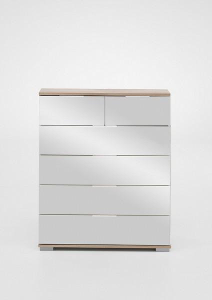 """Schubkastenkommode """"Olha 2"""" Eiche sägerau NB+Spiegel (6xSchubkästen) 82x102x42cm Board"""