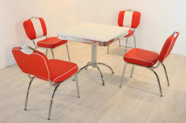 """Tischgruppe Set """"Biscayne"""" Diner Set rot/weiss Säulentisch 4xStuhl Küchenset Essgruppe"""