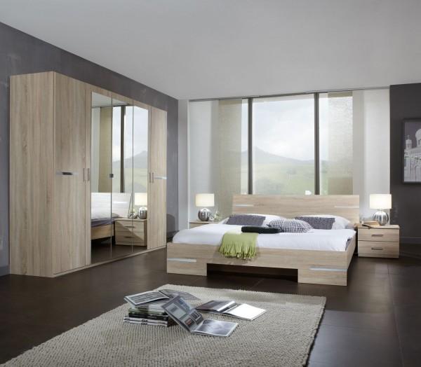 """Schlafzimmer Programm """"Flink Plus"""", Bett, Kleiderschrank u. Nachttische, Eiche sägerau"""