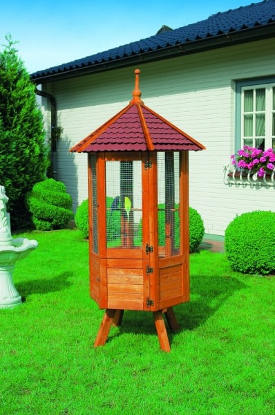 """6-Eck Voliere """"Onis"""", Kiefernholz massiv Honigbraun 98x98x195cm Vogelvoliere Garten"""