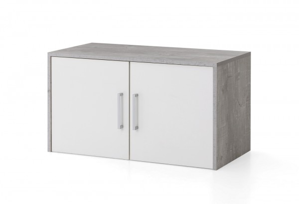 "Hängeschrank ""Anna"" beton, weiß 73x40x37cm 2 Türen breit Büroregal Aufbewahrungsregal"