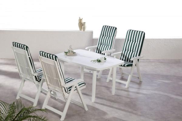 """Gartengruppe """"Pina"""" 9-tlg. weiß Tisch 4xKlappsessel inkl. Auflage Essgruppe Gartenset Diningset"""