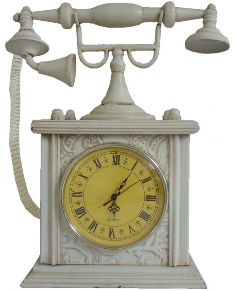 "Vintage Standuhr im Telefon Design ""Appareil"" aus Metall 39x43x18cm"