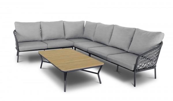 "Lounge Gruppe ""Antali I"" 5-tlg. groß anthrazit/grau Makramee-Art Gartenlounge Sitzecke Garten"