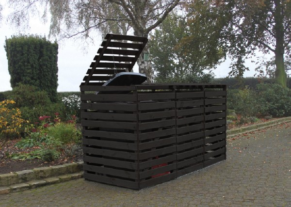 "Mülltonnenbox ""Susanne"", anthrazit imprägniert, 219x92x122cm, Kiefer, Mülltonnenaufbewahrung, Garten"